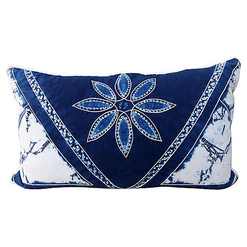 Blue & White Batik Floral Pillow