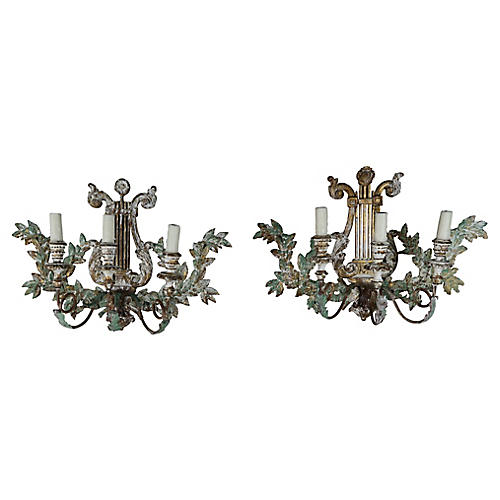 3-Light Italian Wood Sconces, Pair