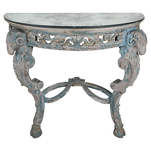 French Carved Painted Console w/ Mirror