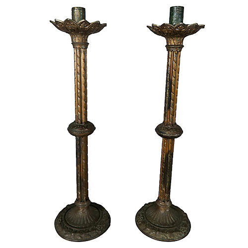 Pair of 19-C. Spanish Brass Candlesticks
