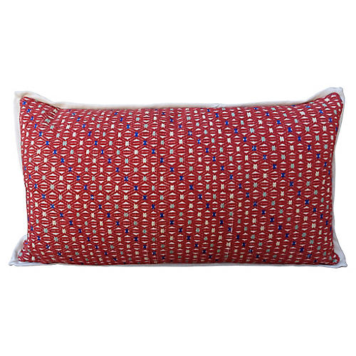 Red and White Cotton Woven Hmong Pillow