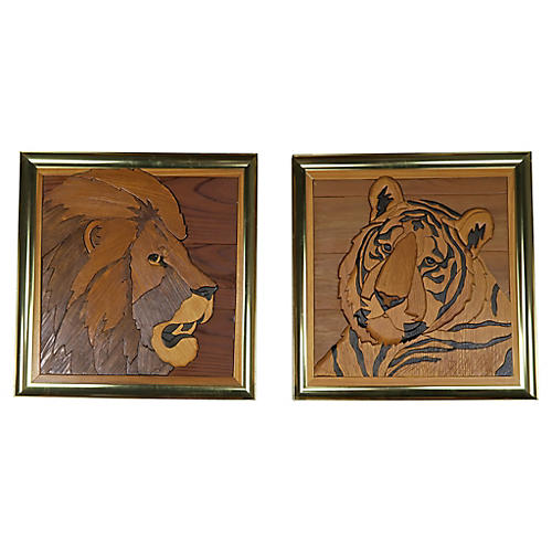 Brass Framed Inlaid Wood Lion and Tiger