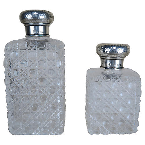 Crystal Bottles w/ Sterling Tops-S2