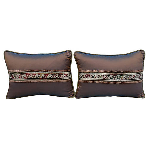 Fortuny Accented Silk Pillows, Pair