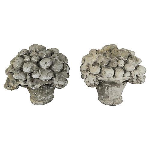 French Garden Fruit Basket Ornaments, Pr