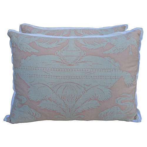 Pink & White Fortuny Textile Pillows, Pr