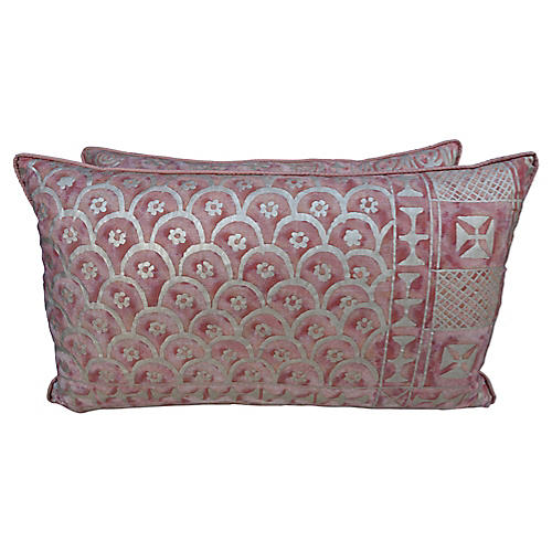 Pair of Blush Fortuny Pillows, Pair