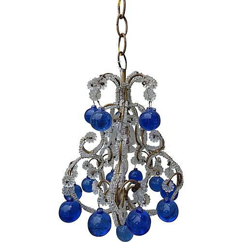 French Beaded Blue Drop Chandelier