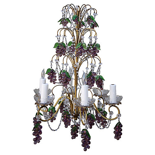 Six-Light French Beaded Chandelier