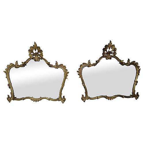 Pair of Italian Gilt Wood Mirrors
