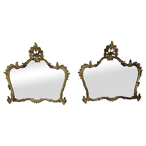 Pair of Italian Gilt Wood Mirrors