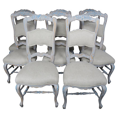 Set of (8) French Painted Dining Chairs