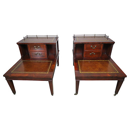 English Leather Two-Tiered Tables, Pair