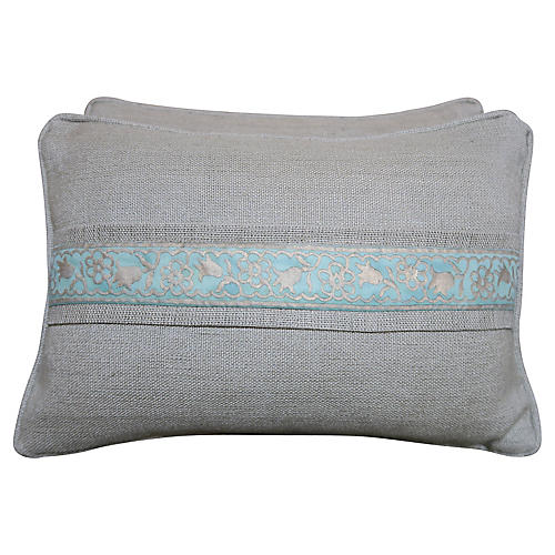 Blue & Grey Fortuny Pillows, Pair