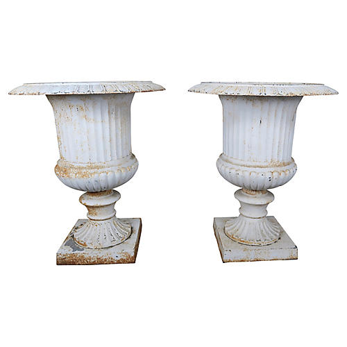 Pair of Italian Painted Cast Iron Urns