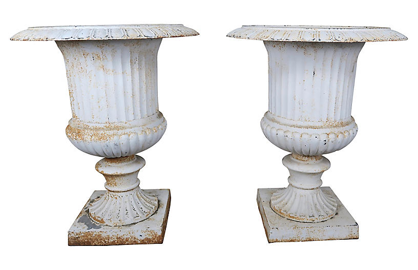 Pair of Italian Painted Cast Iron Urns