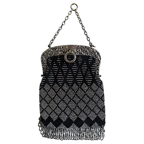Silver & Black Beaded Evening Bag