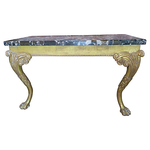 French Gilt Wood Console w/ Marble Top