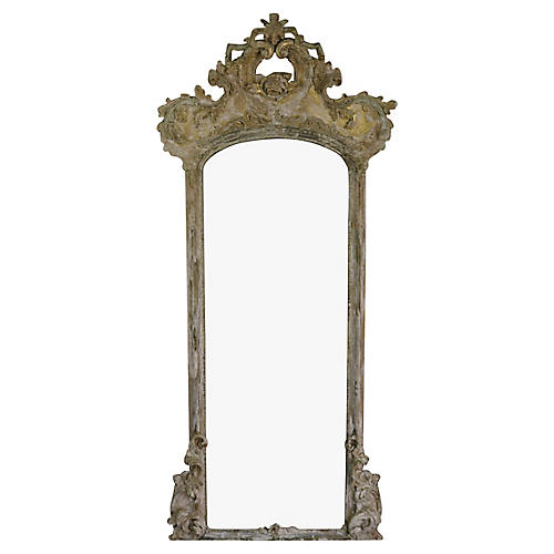 19th-C. French Rose Mirror