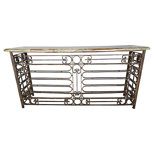 Monumental French Wrought Iron Console W