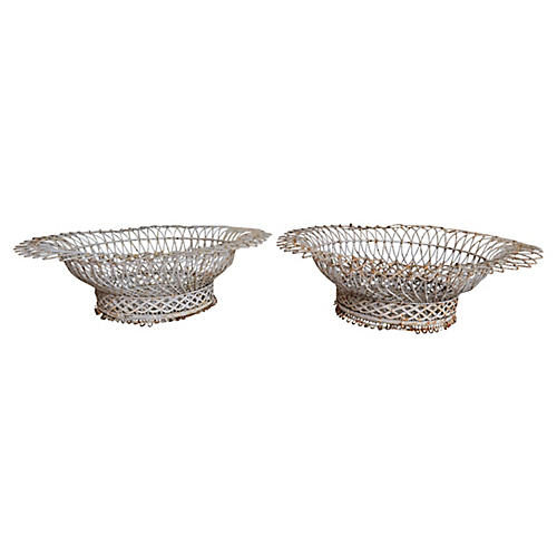 French Wire Baskets, Pair