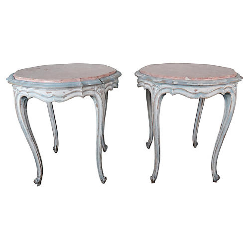 French Louis XV Style Painted Tables, Pr