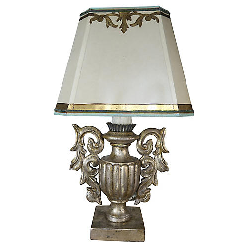 Silver Lamp with Painted Parchment Shade