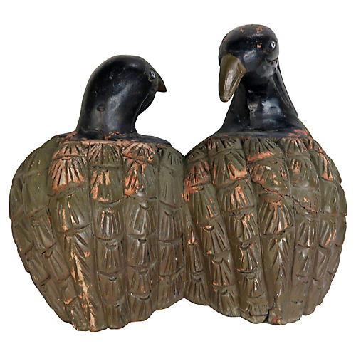 "Carved Wood Painted ""Love Birds"""