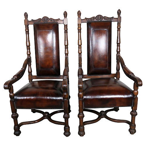 English Leather Armchairs, Pair