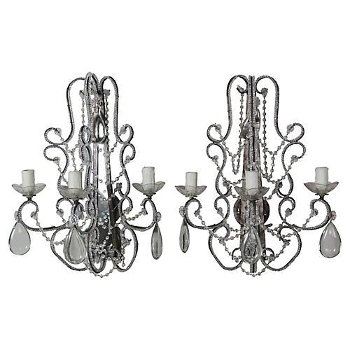 Crystal Beaded & Mirror Sconces, Pair