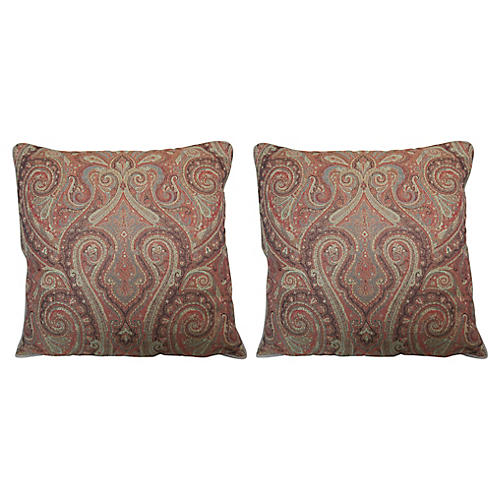 Wool Paisley Pillows, Pair
