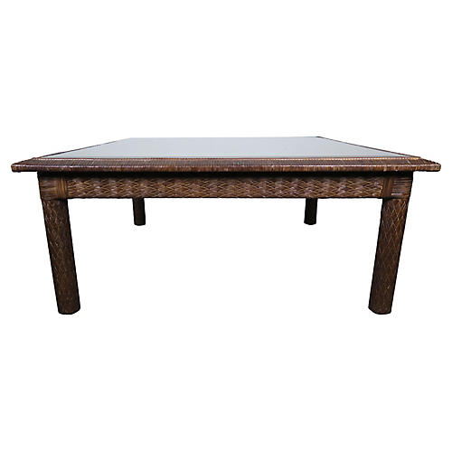 Woven Tobacco Leather Table