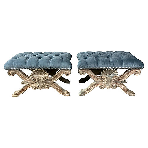 French X-Base Benches, Pair