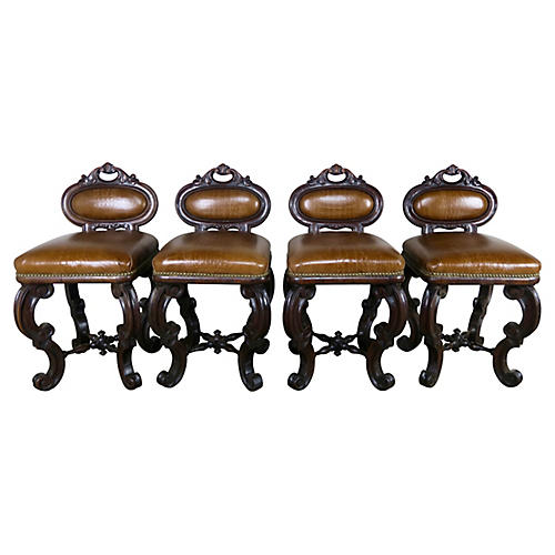 Embossed Leather Stools, S/4