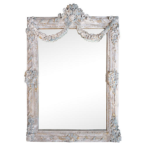 Hand-Carved French Mirror w/ Garlands