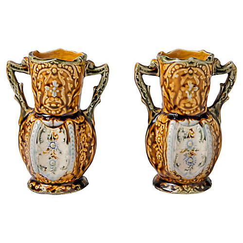 English Majolica-Style Vases, Pair