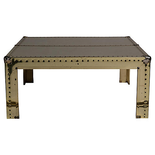Riveted Brass-Veneered Coffee Table