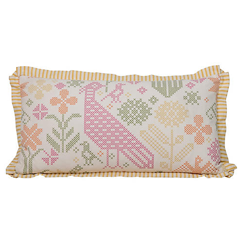 Faux-Needlepoint Lumbar Pillow