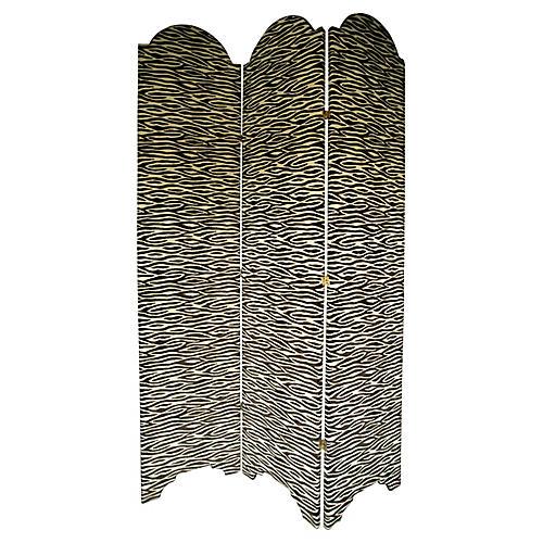 Zebra-Print Upholstered Screen