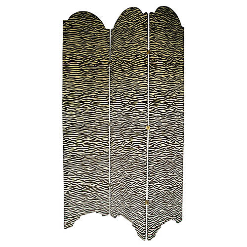 Zebra-Print Upholstered Screen