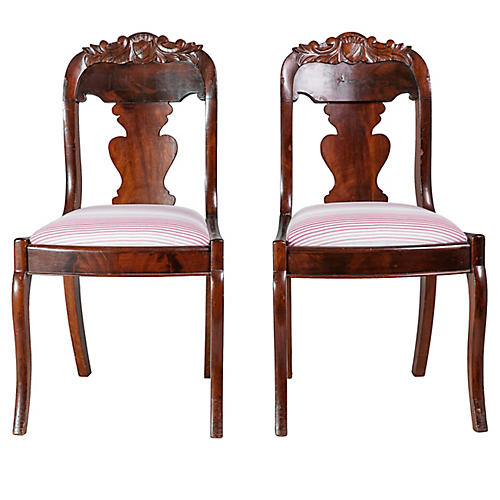 19th-C. Shield-Back Hall Chairs, Pair