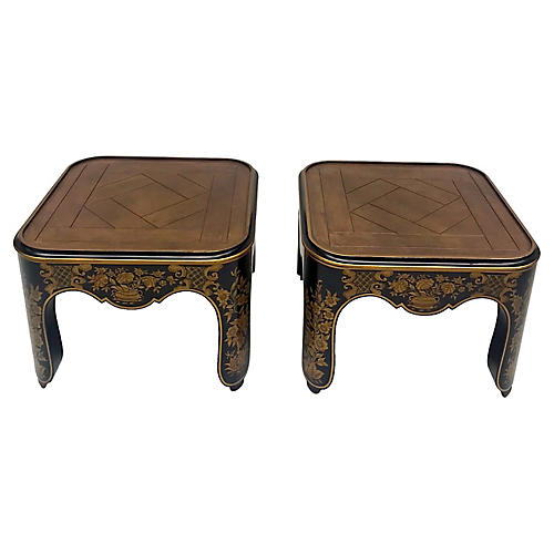 Painted Chinoiserie Baker Tables, Pair