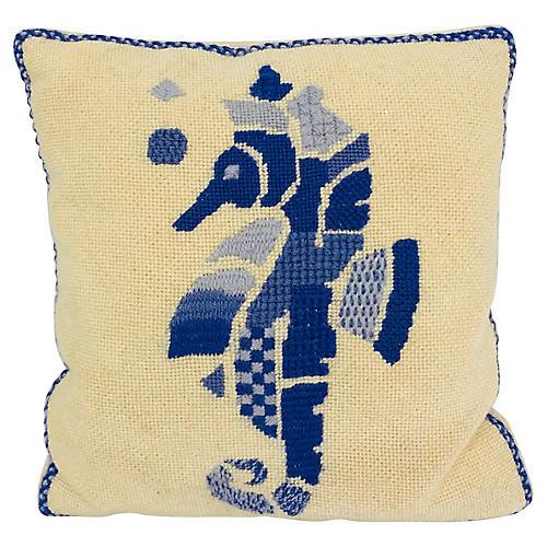 Seahorse Needlepoint Pillow