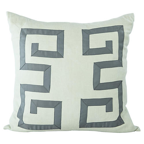 Blue Greek Key Pillow