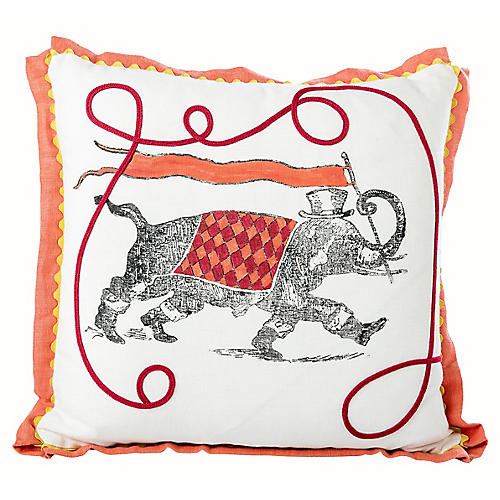 Hand-Painted Elephant Pillow