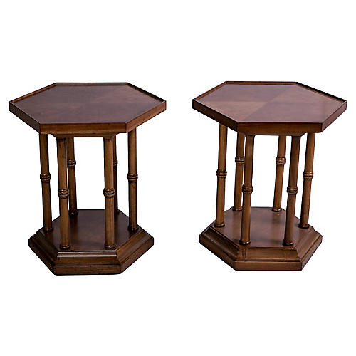 Hexagonal Side Tables, Pair