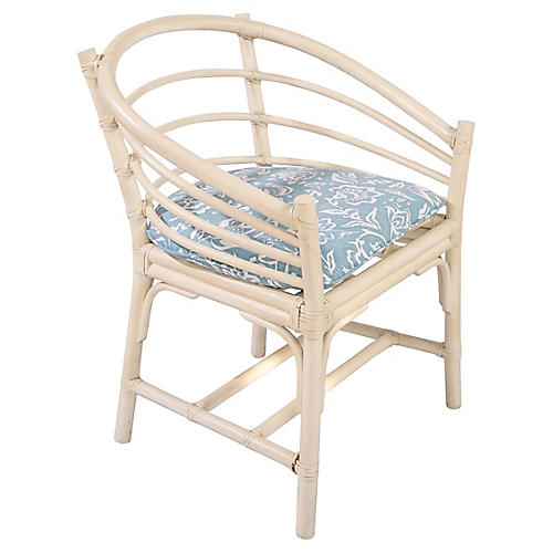 Gray Rattan Curved Chair