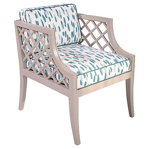 Gray Lattice Armchair
