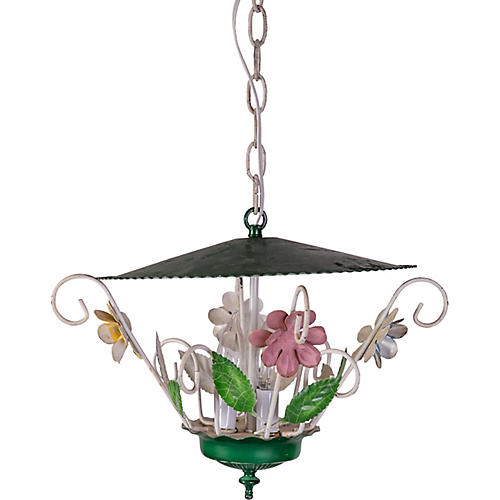 Floral Tole Pendant Light