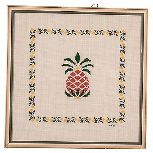Framed Pineapple Needlepoint